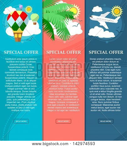 Colorful Vertical Banners On The Theme Of Travel And Vacation With Place For Your Text. Flat Style.