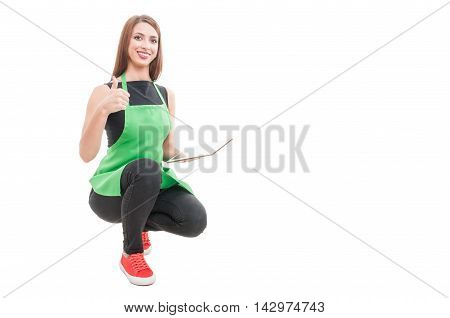 Cheerful Hypermarket Employee Doing Thumbup Gesture