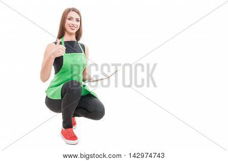Cheerful Hypermarket Employee Doing Thumbup Gesture