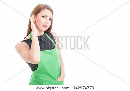 Pretty Employee With Apron Listening Curious Something