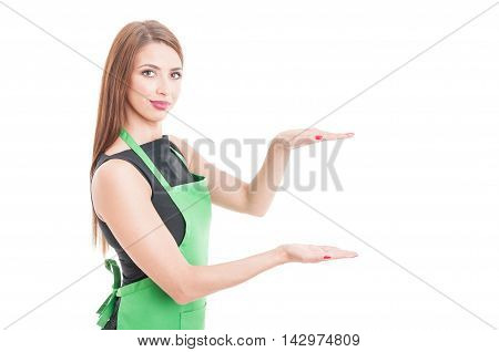 Portrait Of Saleswoman Showing Something Invisible