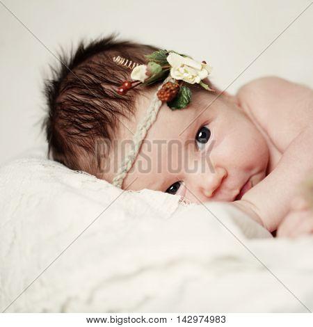 beautiful Baby newborn girl on white background