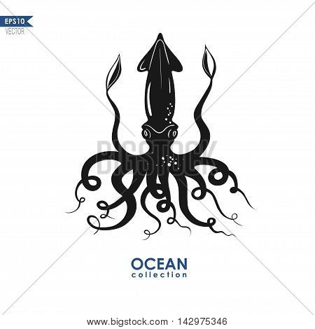 vector silhouette of a giant calamari isolated on white