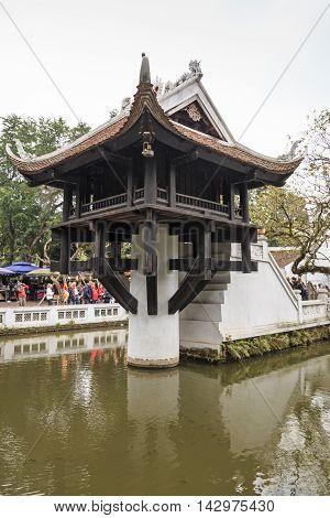 Hanoi, Vietnam - February 23, 2016: Tourists Visiting The One Pillar Pagoda Of Hanoi In Vietnam