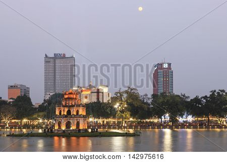 Hanoi, Vietnam - February 21, 2016: Turtle Tower At Night On Hoan Kiem Lake In Vietnam