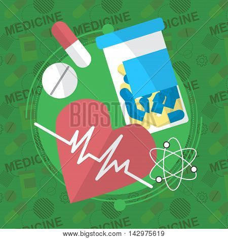 Medicine Flat Icons Set. Pills Box, Tablets, Pill, Blister, Vitamins, Liquid. Vector