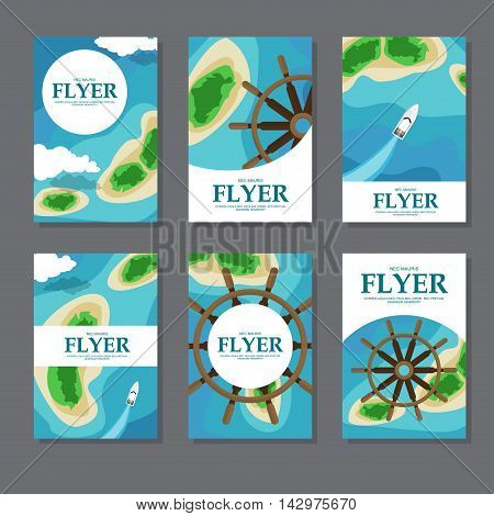 Collection Of Rectangular Cards With Sea, Islands And Wheel. Vector