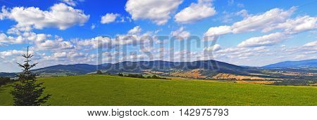 Panoramatic view on mountains landscape in Czech Republic