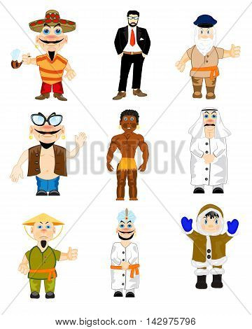 Folk inhabitting land ensemble nationalities on white background is insulated