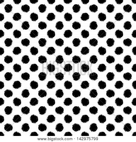 Abstract seamless pattern of grunge polka dots hand painted background of black white grunge circle vector pattern round point for banner flyer card invitation wrapping textile web design