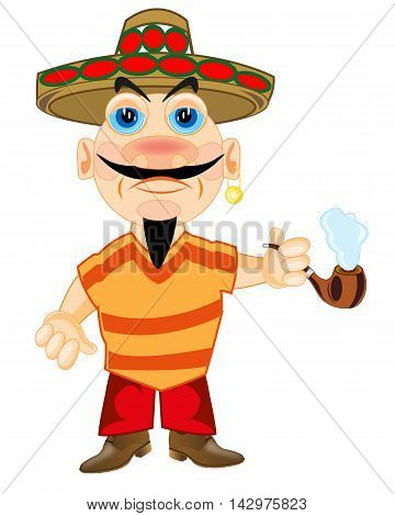 The Man mexican in hat smokes the tobacco.Vector illustration
