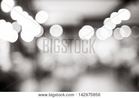 Black And White Blur Background, Bokeh Light At Coffee Shop