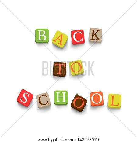 Back to school poster with colorful blocks. Education banner