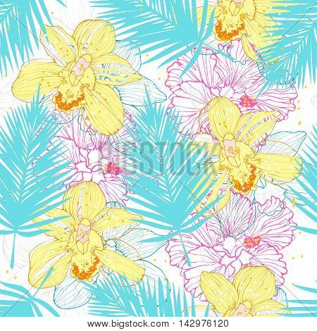 hawaiian pattern with orchids and palm leaves, vector seamless tropical pattern