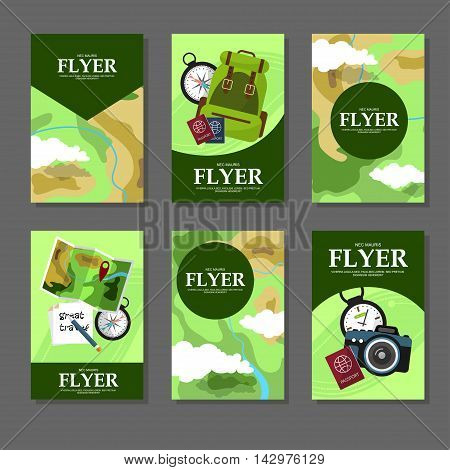 Collection Of Rectangular Cards With Maps And Tourist Facilities. Flat Style. Vector