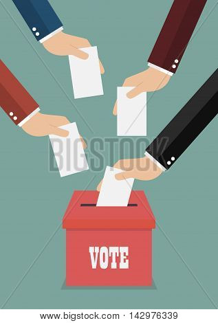 Businessmen putting papers in the ballot box. Voting concept
