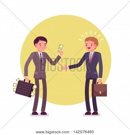 Businessman is giving money to another man. Two men are in a formal wear against green background. Cartoon vector flat-style concept illustration