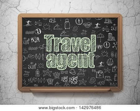 Vacation concept: Chalk Green text Travel Agent on School board background with  Hand Drawn Vacation Icons, 3D Rendering
