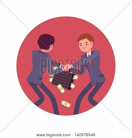 Struggle between businessmen in a formal wear for a case full of money against lilac basckground. Cartoon vector flat-style concept illustration