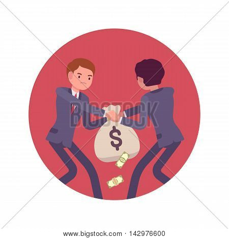 Struggle between businessmen in a formal wear for a sack of money against lilac basckground. Cartoon vector flat-style concept illustration