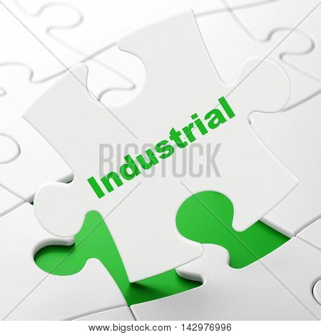 Manufacuring concept: Industrial on White puzzle pieces background, 3D rendering