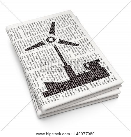 Manufacuring concept: Pixelated black Windmill icon on Newspaper background, 3D rendering