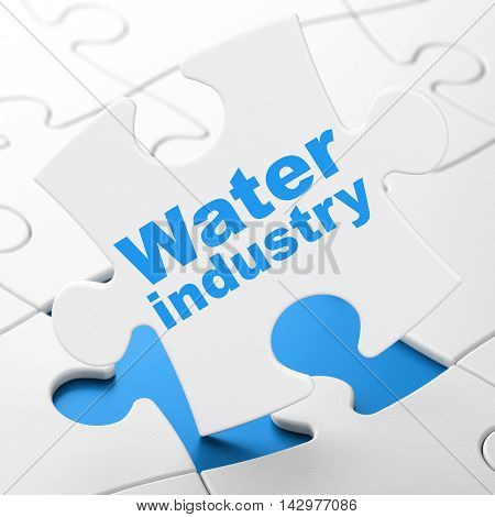 Industry concept: Water Industry on White puzzle pieces background, 3D rendering