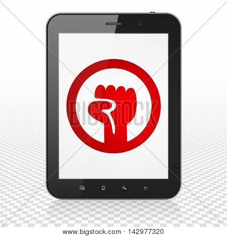 Politics concept: Tablet Computer with  red Uprising icon on display,  Tag Cloud background, 3D rendering
