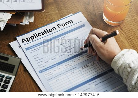 Application Form Document Fill Writing Concept