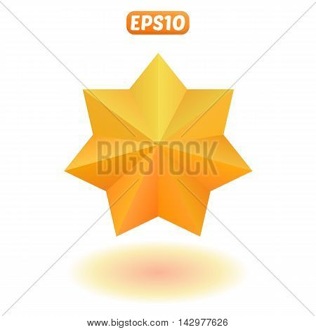 Shiny gold seven-pointed star with shadow. Isolated, vector, eps 10
