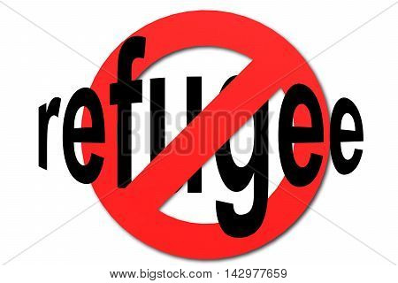 Stop Refugee Sign In Red