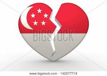 Broken White Heart Shape With Singapore Flag