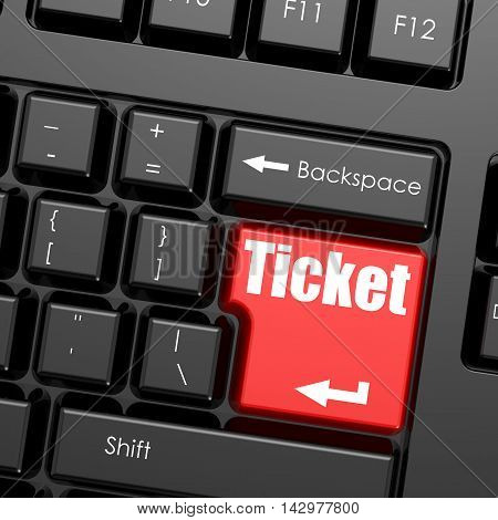 Red Enter Button On Computer Keyboard, Ticket Word
