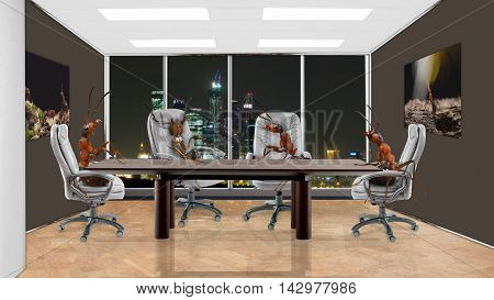 Ants in the office sitting at the negotiating table. The concept of teamwork, synergy, business, construction