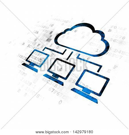 Cloud technology concept: Pixelated blue Cloud Network icon on Digital background