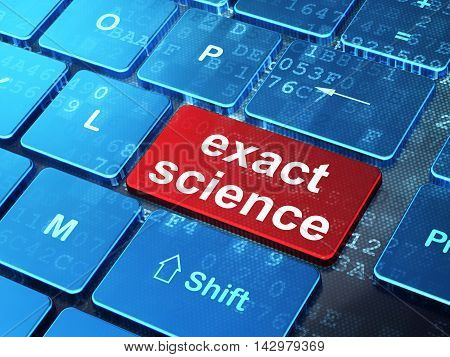 Science concept: computer keyboard with word Exact Science on enter button background, 3D rendering