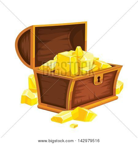 vector illustration of vintage wooden open chest with gold. isolated on white background. Picture for 2D game UI