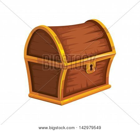 vector illustration of vintage wooden chest with closed cover. isolated on white background. Picture for 2D game UI