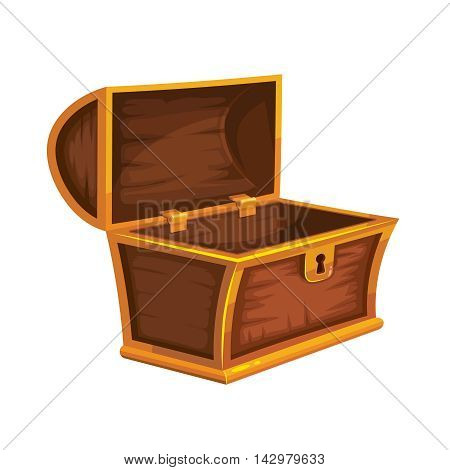 vector illustration of vintage wooden chest with an open cover. isolated on white background. Picture for 2D game UI