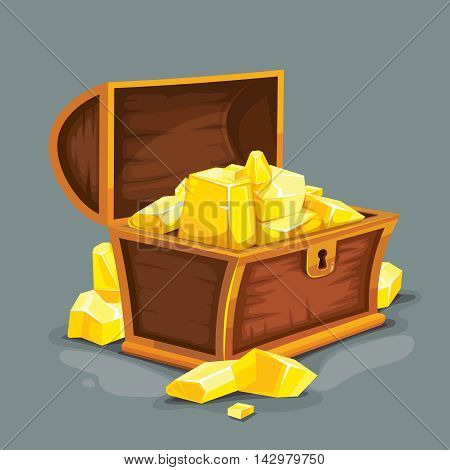 vector illustration of vintage wooden open chest with gold. isolated on dark background. Picture for 2D game UI