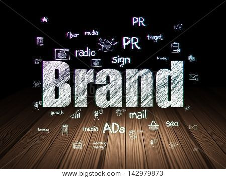 Advertising concept: Glowing text Brand,  Hand Drawn Marketing Icons in grunge dark room with Wooden Floor, black background