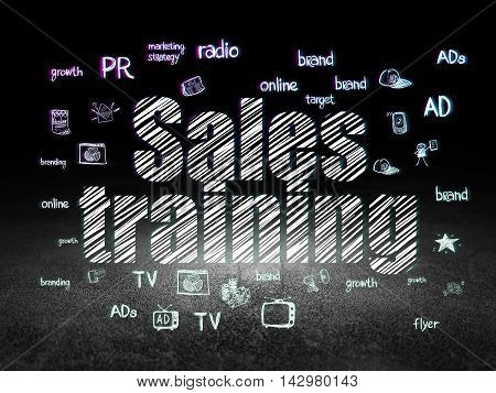 Marketing concept: Glowing text Sales Training,  Hand Drawn Marketing Icons in grunge dark room with Dirty Floor, black background