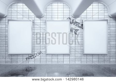 Metro station with blank ad posters hanging on grey tile wall. Mock up 3D Rendering
