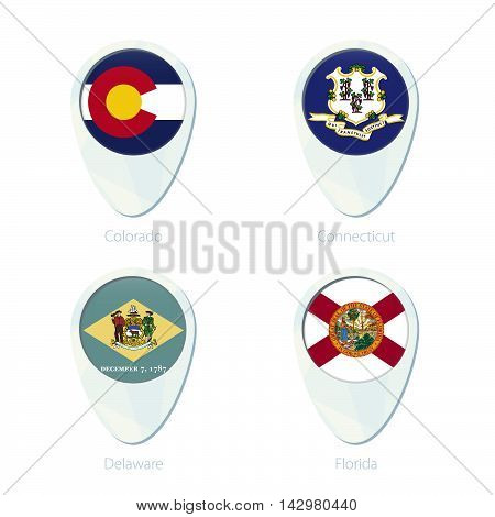Colorado, Connecticut, Delaware, Florida Flag Location Map Pin Icon.