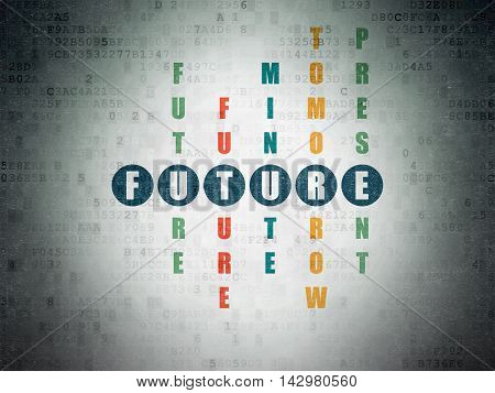 Time concept: Painted blue word Future in solving Crossword Puzzle on Digital Data Paper background