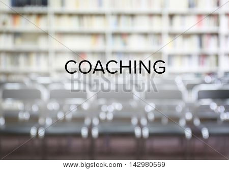 Business training concept. Blurred interior with chairs