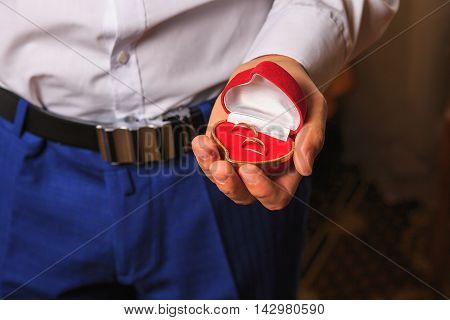 wedding rings in a red case in a hand. wedding. newlyweds. gold rings. Lord of the Rings. gold.