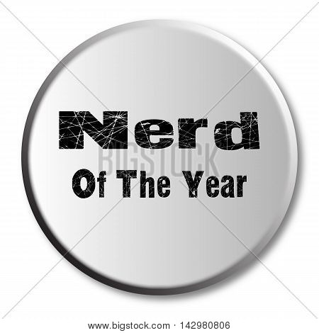 Nerd of the Year button over a white background