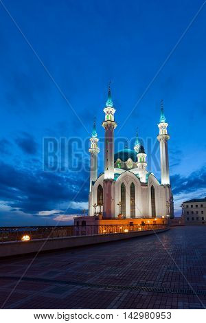 Russia. View of the mosque Qol Sharif in Kazan at night