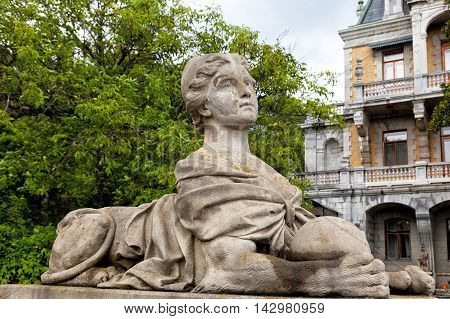 Crimea. Ancient sculpture of a woman-sphinx in the palace park in Massandra